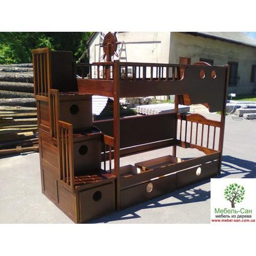 Двухъярусные кровати для детей из натурального дерева